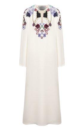 Женское шелковое платье VALENTINO белого цвета, арт. VB3VAVA31MM | Фото 1