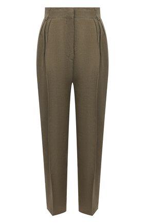 Женские льняные брюки ERIKA CAVALLINI хаки цвета, арт. S1/P/P1S003 | Фото 1