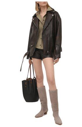 Женские кожаные шорты VALENTINO темно-коричневого цвета, арт. VB0NH7H05VT | Фото 2