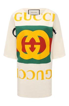 Женская хлопковая футболка GUCCI светло-бежевого цвета, арт. 539080/XJA9C | Фото 1 (Стили: Спорт-шик; Материал внешний: Хлопок; Рукава: Короткие)