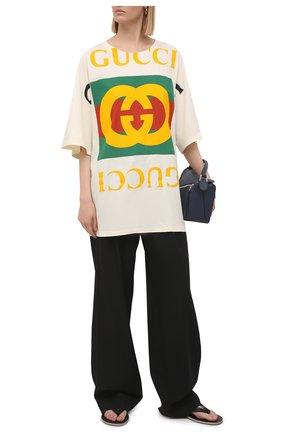 Женская хлопковая футболка GUCCI светло-бежевого цвета, арт. 539080/XJA9C | Фото 2 (Стили: Спорт-шик; Материал внешний: Хлопок; Рукава: Короткие)