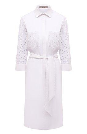 Женское хлопковое платье D.EXTERIOR белого цвета, арт. 52685   Фото 1