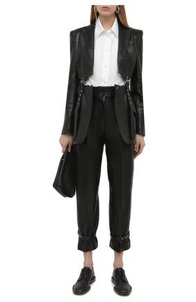 Женские кожаные брюки ALEXANDER MCQUEEN черного цвета, арт. 659787/Q5AF0 | Фото 2