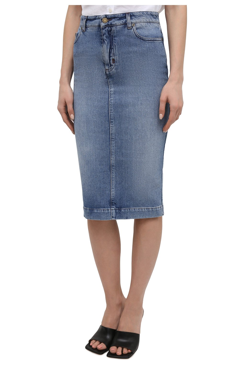 Женская джинсовая юбка TOM FORD голубого цвета, арт. GCD055-DEX128 | Фото 3