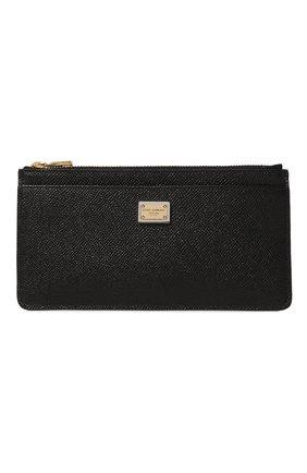 Женский кожаный футляр для кредитных карт DOLCE & GABBANA черного цвета, арт. BI1265/A1001   Фото 1