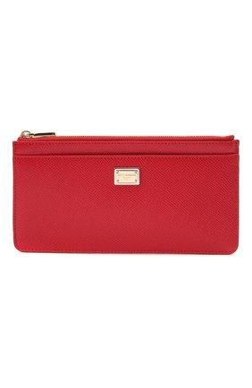 Женский кожаный футляр для кредитных карт DOLCE & GABBANA красного цвета, арт. BI1265/A1001   Фото 1