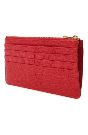 Женский кожаный футляр для кредитных карт DOLCE & GABBANA красного цвета, арт. BI1265/A1001   Фото 2