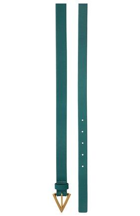 Женский кожаный ремень BOTTEGA VENETA бирюзового цвета, арт. 629763/VMAU3 | Фото 2 (Материал: Кожа)