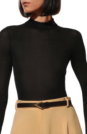 Женский кожаный ремень BOTTEGA VENETA темно-коричневого цвета, арт. 629763/VMAU3 | Фото 2 (Материал: Кожа)