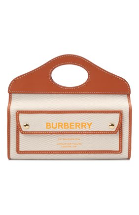 Женская сумка pocket small BURBERRY коричневого цвета, арт. 8036740 | Фото 1 (Сумки-технические: Сумки top-handle, Сумки через плечо; Материал: Текстиль; Ремень/цепочка: На ремешке; Размер: small)
