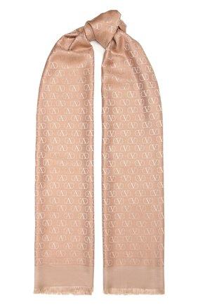 Женский шарф из шелка и шерсти VALENTINO бежевого цвета, арт. VW0ED007/AJB | Фото 1