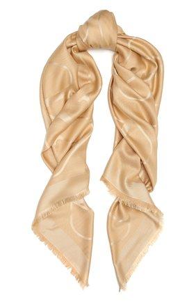 Женская шаль из шелка и шерсти VALENTINO бежевого цвета, арт. VW0EB104/AJB   Фото 1