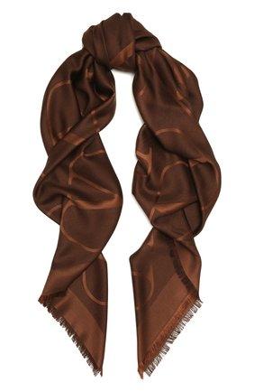 Женская шаль из шелка и шерсти VALENTINO темно-коричневого цвета, арт. VW0EB104/AJB   Фото 1