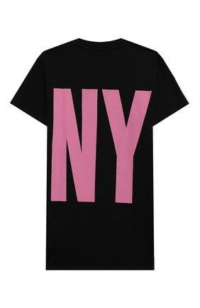 Детское хлопковое платье-футболка DKNY черного цвета, арт. D32777 | Фото 2