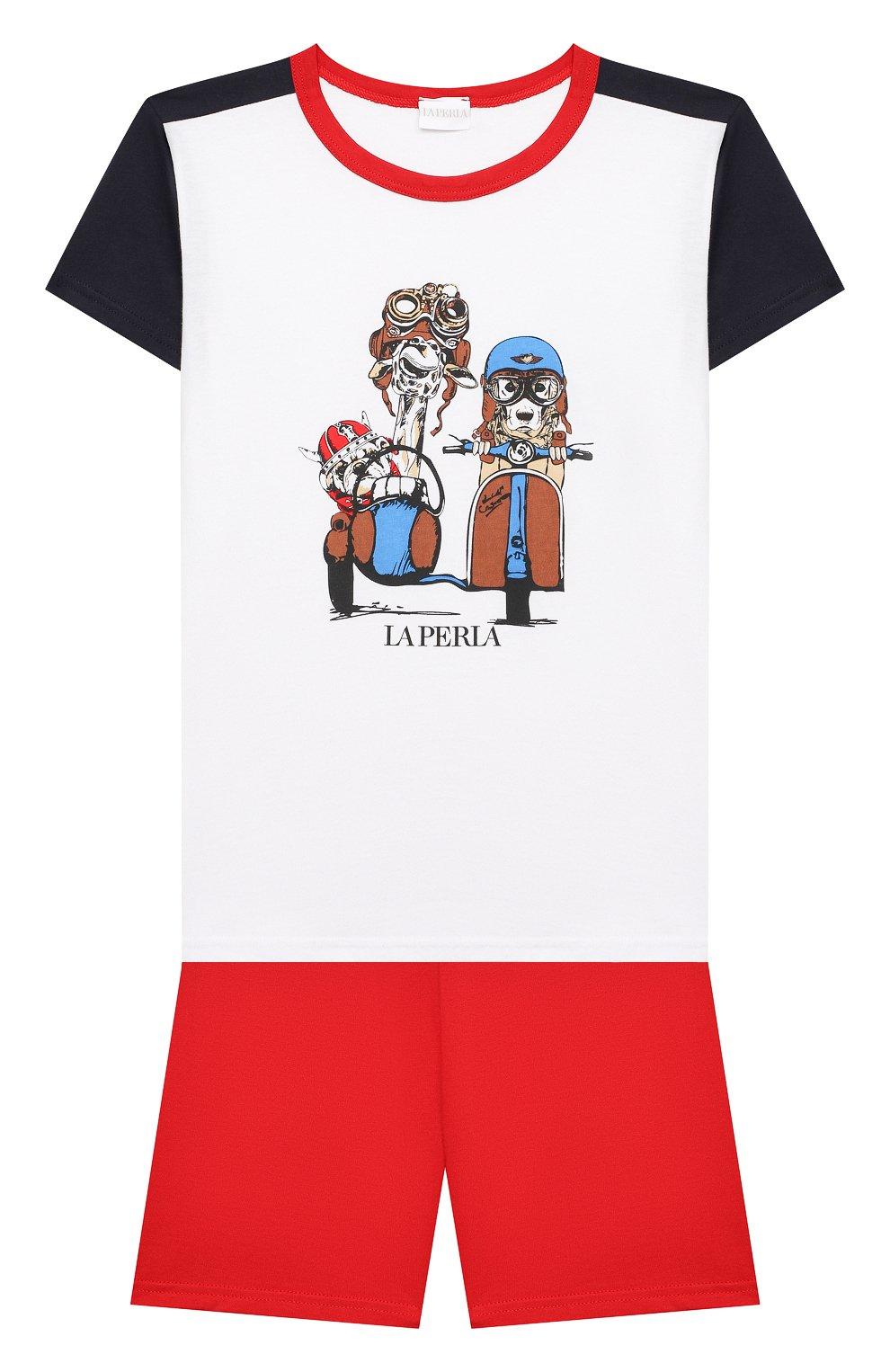 Женская хлопковая пижама LA PERLA красного цвета, арт. 70072/8A-14A | Фото 1