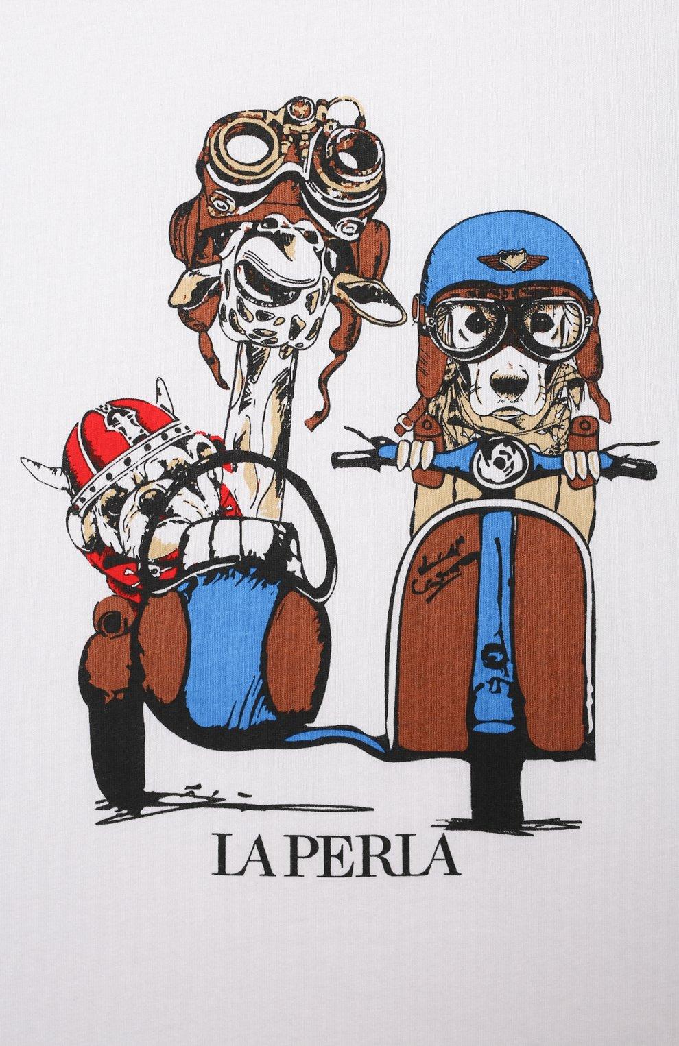 Женская хлопковая пижама LA PERLA красного цвета, арт. 70072/8A-14A | Фото 6
