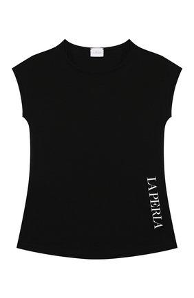 Детская хлопковая футболка LA PERLA черного цвета, арт. 70135/8A-14A | Фото 1