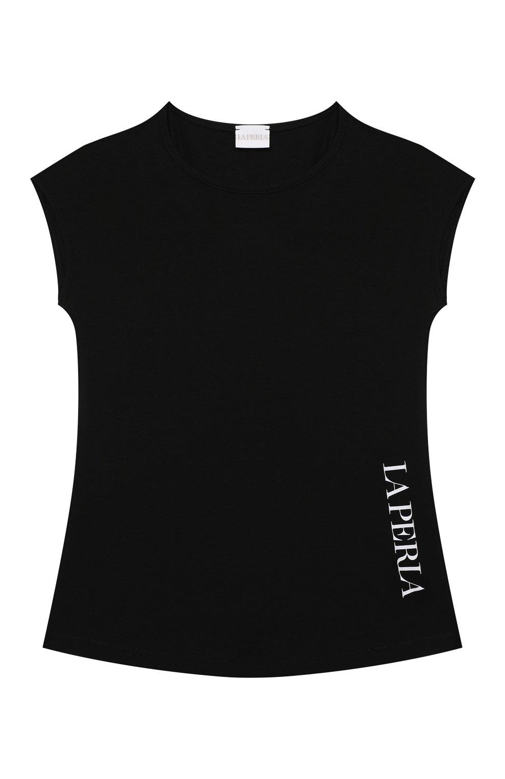Детская хлопковая футболка LA PERLA черного цвета, арт. 70135/2A-6A   Фото 1