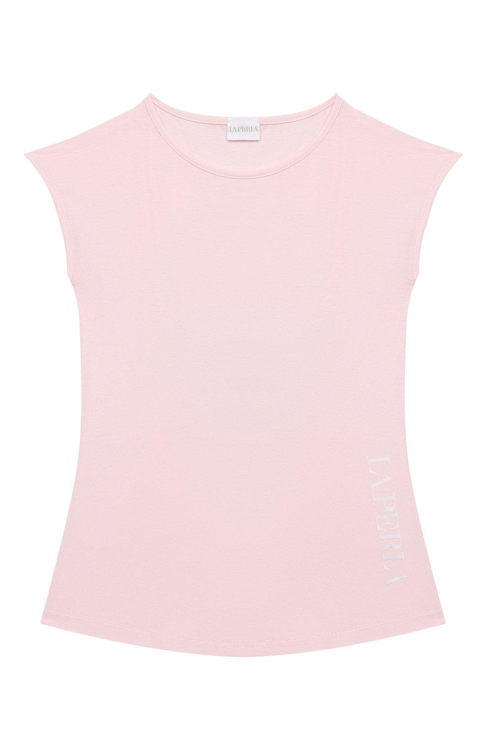 Детская хлопковая футболка LA PERLA розового цвета, арт. 70135/2A-6A   Фото 1