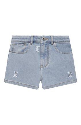 Детские джинсовые шорты BURBERRY голубого цвета, арт. 8038514 | Фото 1