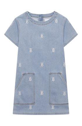 Детское джинсовое платье BURBERRY голубого цвета, арт. 8037986   Фото 1