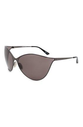 Женские солнцезащитные очки BALENCIAGA темно-серого цвета, арт. BB0137S 001 | Фото 1 (Тип очков: С/з; Очки форма: Бабочка, Маска; Оптика Гендер: оптика-женское)