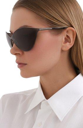 Женские солнцезащитные очки BALENCIAGA темно-серого цвета, арт. BB0137S 001 | Фото 2 (Тип очков: С/з; Очки форма: Бабочка, Маска; Оптика Гендер: оптика-женское)