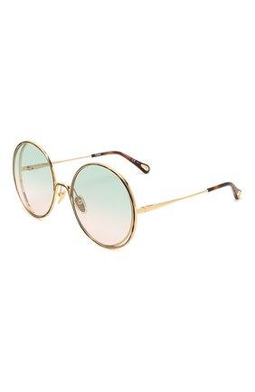 Женские солнцезащитные очки CHLOÉ золотого цвета, арт. CH0037SA 003 | Фото 1 (Оптика Гендер: оптика-женское; Очки форма: Круглые)