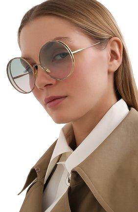 Женские солнцезащитные очки CHLOÉ золотого цвета, арт. CH0037SA 003 | Фото 2 (Оптика Гендер: оптика-женское; Очки форма: Круглые)