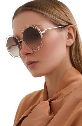 Женские солнцезащитные очки CHLOÉ коричневого цвета, арт. CH0045S 004   Фото 2