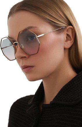 Женские солнцезащитные очки CHLOÉ коричневого цвета, арт. CH0046S 002   Фото 2