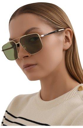 Женские солнцезащитные очки GUCCI зеленого цвета, арт. GG0941S 002   Фото 2