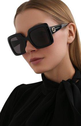 Женские солнцезащитные очки GUCCI черного цвета, арт. GG0896S 001   Фото 2