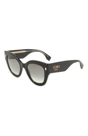 Женские солнцезащитные очки FENDI черного цвета, арт. 0435 807   Фото 1