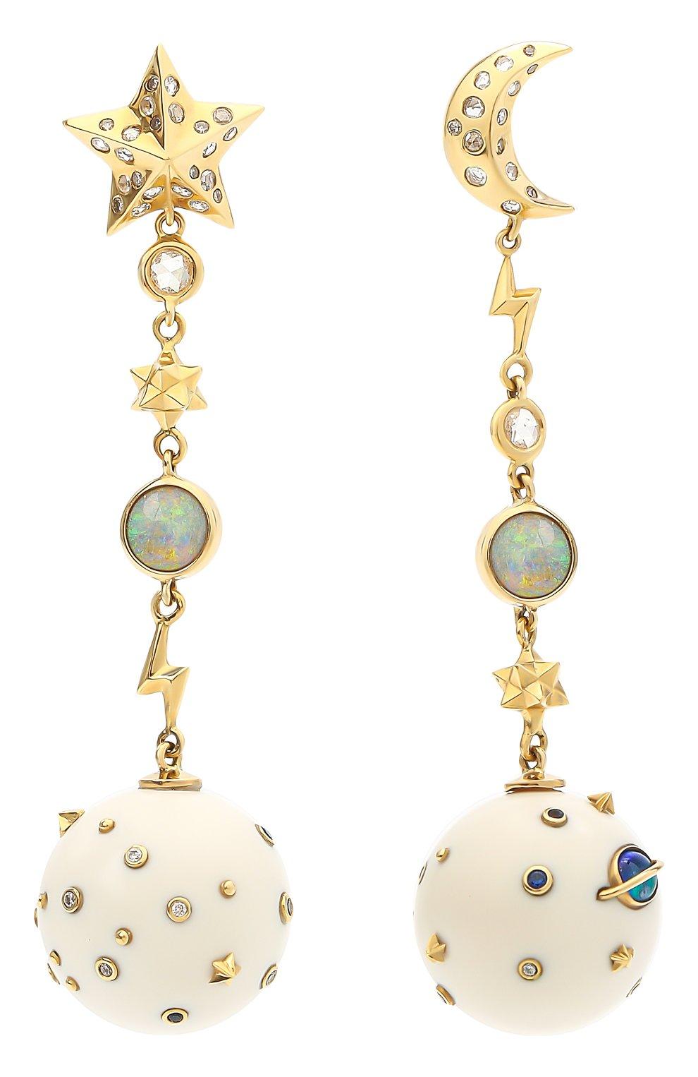 Женские серьги BIBI VAN DER VELDEN бесцветного цвета, арт. E20170624 | Фото 1 (Драгоценные камни: Сапфиры, Бриллианты, Другие; Материал сплава: Желтое золото)