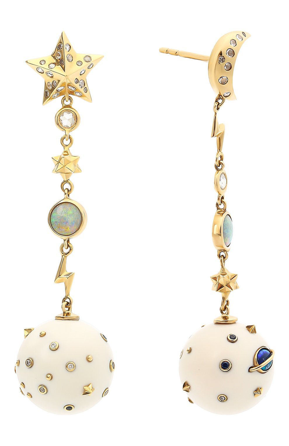 Женские серьги BIBI VAN DER VELDEN бесцветного цвета, арт. E20170624 | Фото 2 (Драгоценные камни: Сапфиры, Бриллианты, Другие; Материал сплава: Желтое золото)
