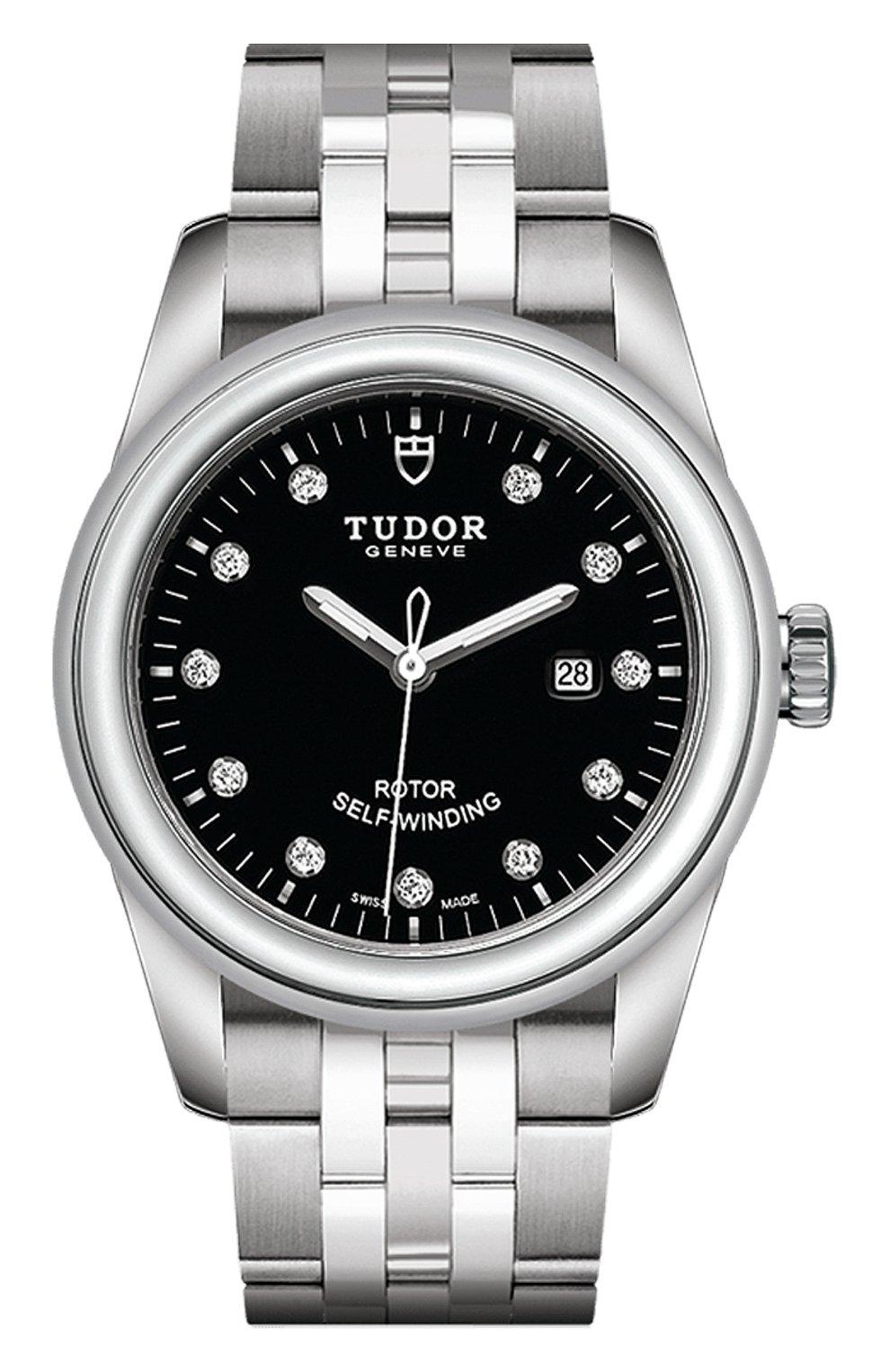 Женские часы glamour date TUDOR бесцветного цвета, арт. 53000/68030/BLACK 11 DIAM | Фото 1 (Механизм: Автомат; Материал корпуса: Сталь; Цвет циферблата: Чёрный)