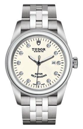 Женские часы glamour date TUDOR бесцветного цвета, арт. 53000/68030/OPALINE 11 DIAM | Фото 1 (Механизм: Автомат; Материал корпуса: Сталь; Цвет циферблата: Белый)