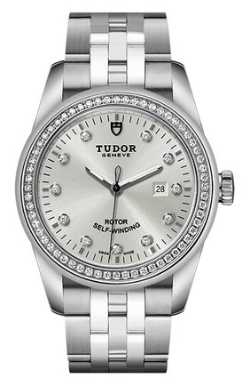 Женские часы glamour date TUDOR бесцветного цвета, арт. 53020/68030/SILVER 11 DIAM   Фото 1 (Механизм: Автомат; Материал корпуса: Сталь; Цвет циферблата: Серебристый)