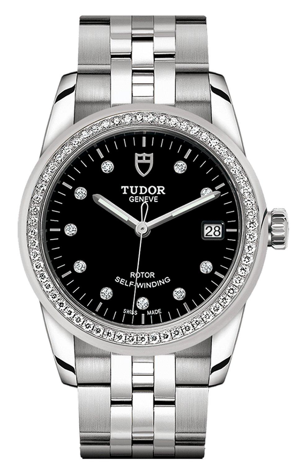 Женские часы glamour date TUDOR бесцветного цвета, арт. 55020/68050/BLACK 10 DIAM | Фото 1 (Механизм: Автомат; Материал корпуса: Сталь; Цвет циферблата: Чёрный)