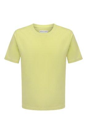 Мужская хлопковая футболка BOTTEGA VENETA светло-зеленого цвета, арт. 649055/VF1U0 | Фото 1 (Длина (для топов): Стандартные; Принт: Без принта; Материал внешний: Хлопок; Рукава: Короткие; Стили: Минимализм)
