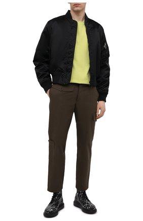 Мужская хлопковая футболка BOTTEGA VENETA светло-зеленого цвета, арт. 649055/VF1U0 | Фото 2 (Длина (для топов): Стандартные; Принт: Без принта; Материал внешний: Хлопок; Рукава: Короткие; Стили: Минимализм)