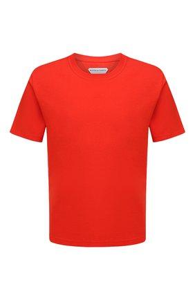 Мужская хлопковая футболка BOTTEGA VENETA красного цвета, арт. 649055/VF1U0 | Фото 1 (Длина (для топов): Стандартные; Материал внешний: Хлопок; Принт: Без принта; Рукава: Короткие; Стили: Минимализм)