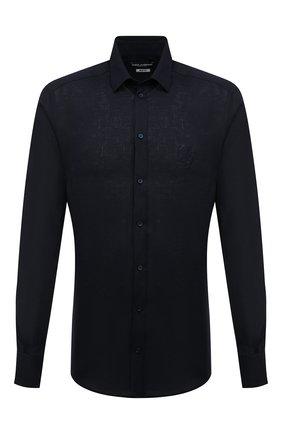 Мужская льняная рубашка DOLCE & GABBANA синего цвета, арт. G5EJ1Z/FU4IK | Фото 1
