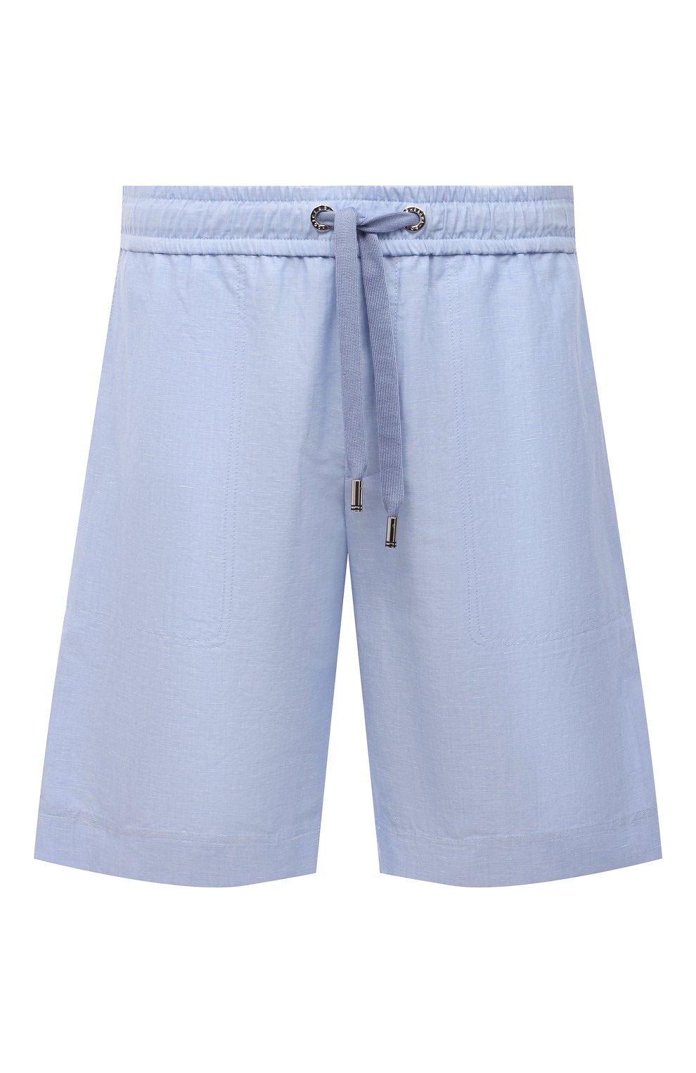 Мужские шорты изо льна и хлопка DOLCE & GABBANA голубого цвета, арт. GYUBAZ/FU4F6 | Фото 1 (Мужское Кросс-КТ: Шорты-одежда; Длина Шорты М: До колена; Принт: Без принта; Материал внешний: Хлопок, Лен; Стили: Кэжуэл)