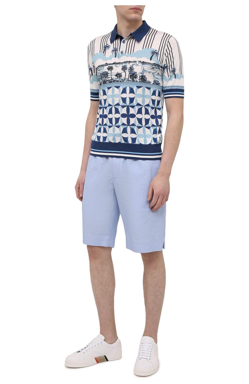 Мужские шорты изо льна и хлопка DOLCE & GABBANA голубого цвета, арт. GYUBAZ/FU4F6 | Фото 2 (Мужское Кросс-КТ: Шорты-одежда; Длина Шорты М: До колена; Принт: Без принта; Материал внешний: Хлопок, Лен; Стили: Кэжуэл)