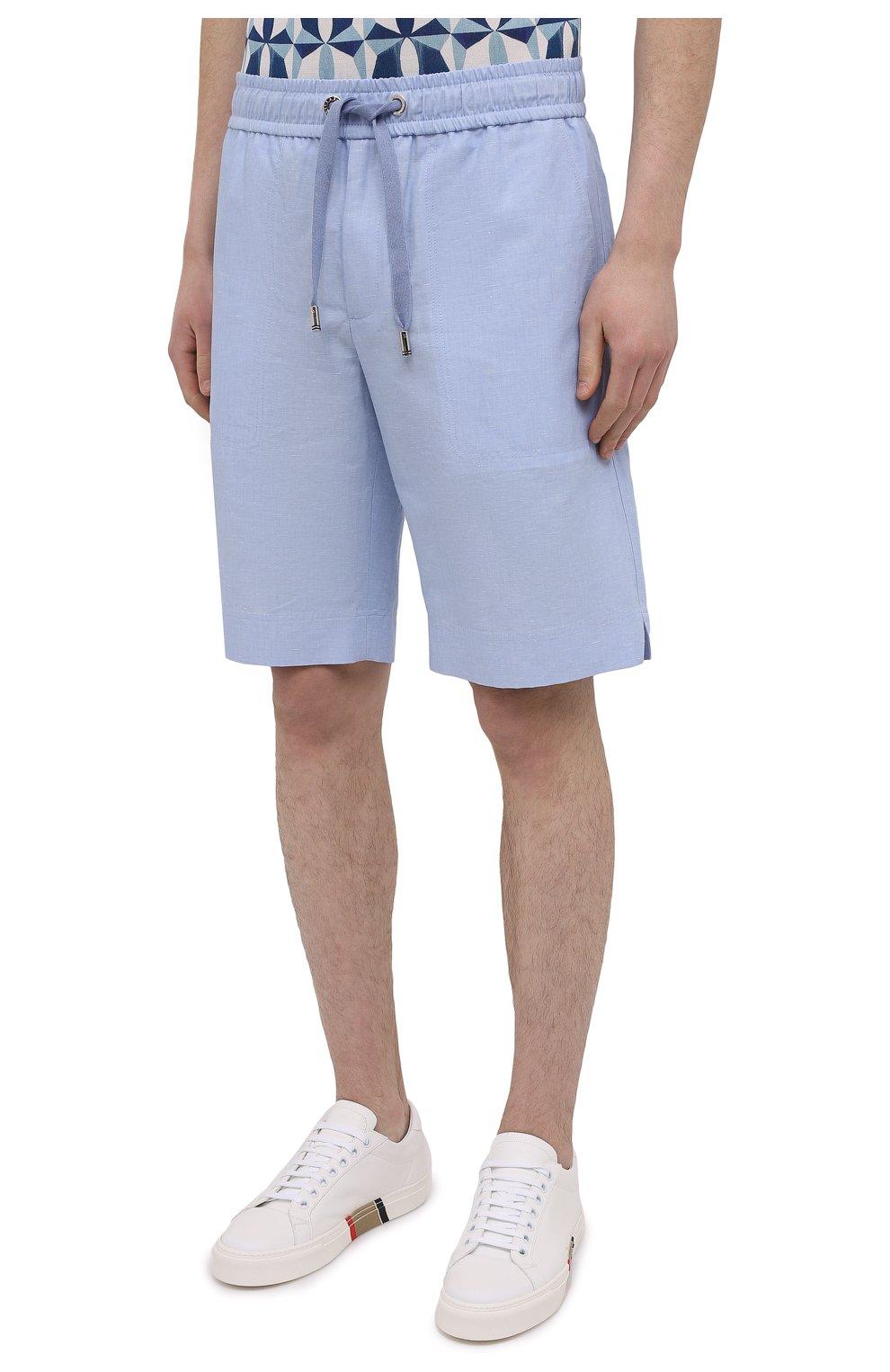 Мужские шорты изо льна и хлопка DOLCE & GABBANA голубого цвета, арт. GYUBAZ/FU4F6 | Фото 3 (Мужское Кросс-КТ: Шорты-одежда; Длина Шорты М: До колена; Принт: Без принта; Материал внешний: Хлопок, Лен; Стили: Кэжуэл)