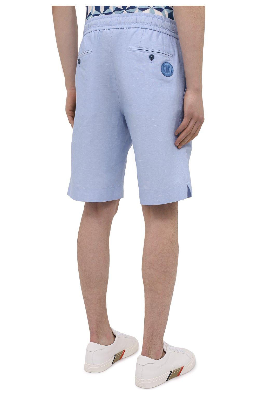 Мужские шорты изо льна и хлопка DOLCE & GABBANA голубого цвета, арт. GYUBAZ/FU4F6 | Фото 4 (Мужское Кросс-КТ: Шорты-одежда; Длина Шорты М: До колена; Принт: Без принта; Материал внешний: Хлопок, Лен; Стили: Кэжуэл)