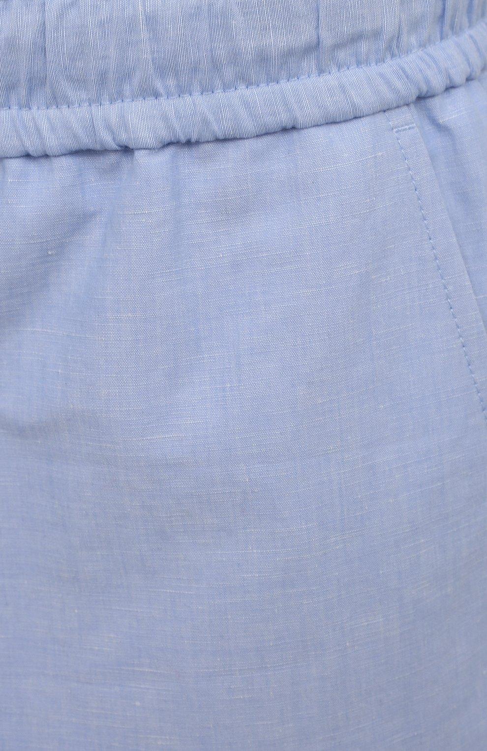 Мужские шорты изо льна и хлопка DOLCE & GABBANA голубого цвета, арт. GYUBAZ/FU4F6 | Фото 5 (Мужское Кросс-КТ: Шорты-одежда; Длина Шорты М: До колена; Принт: Без принта; Материал внешний: Хлопок, Лен; Стили: Кэжуэл)