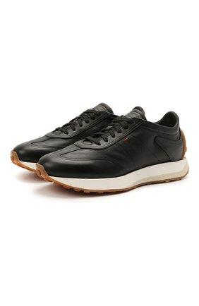 Мужские кожаные кроссовки SANTONI черного цвета, арт. MBNR21495BBMNRDAN01 | Фото 1 (Материал внутренний: Натуральная кожа; Стили: Классический; Подошва: Массивная)